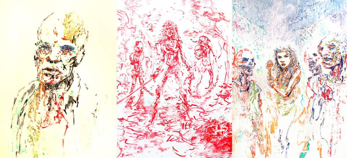 The Walking Dead. Three preliminary sketches in dry erase and colic marker.