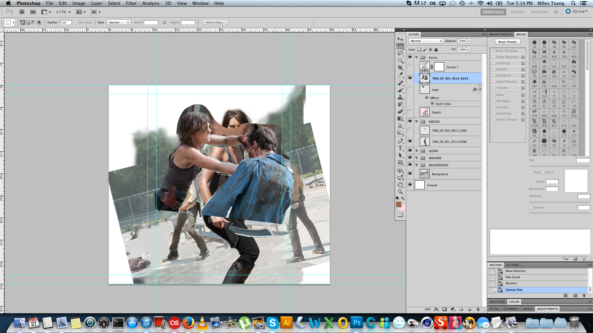 Lauren Cohan cutting a zombie being cut up in Photoshop.
