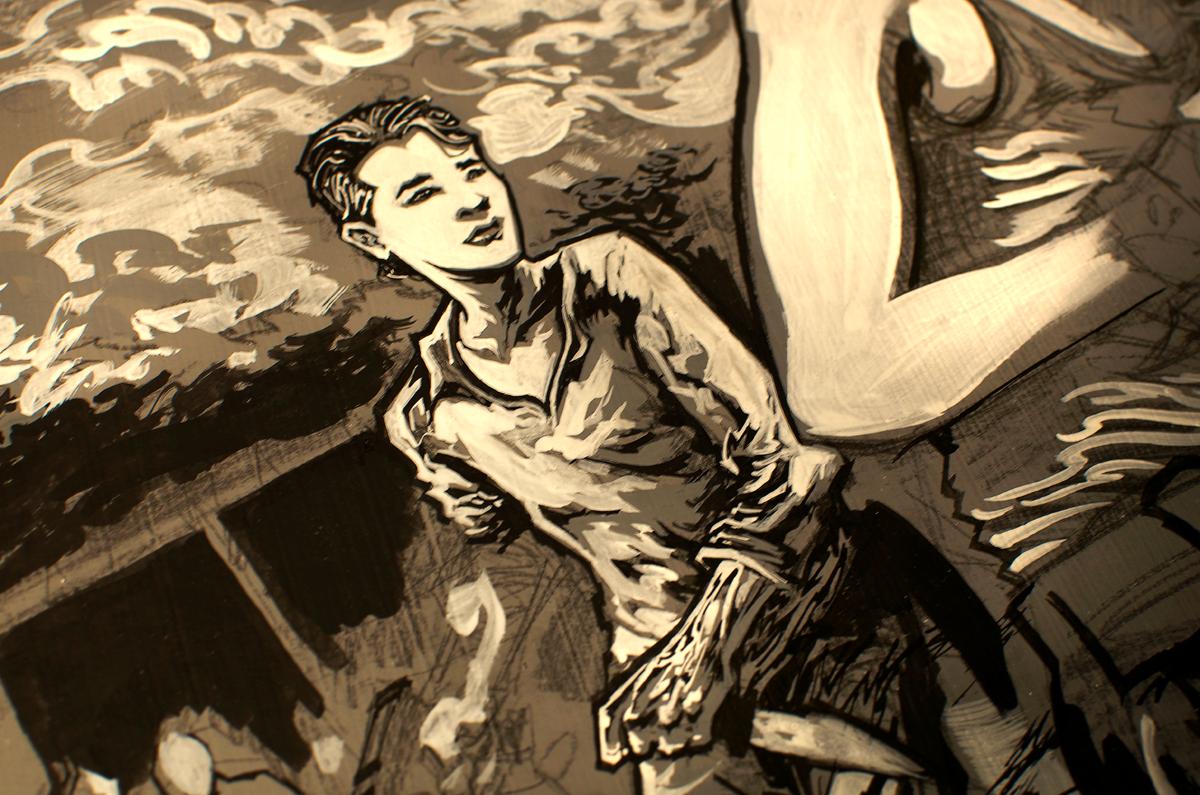 Glenn Rhee of The Walking Dead process close-up.