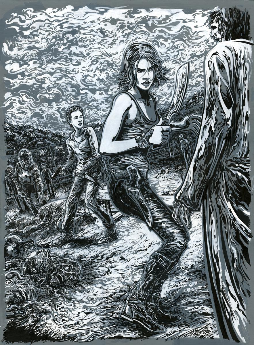 The Walking Dead Semi-Composite Monochrome Key Drawing.