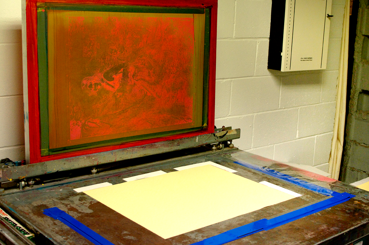 Table setup for screen-printing at Hamilton's Centre3.