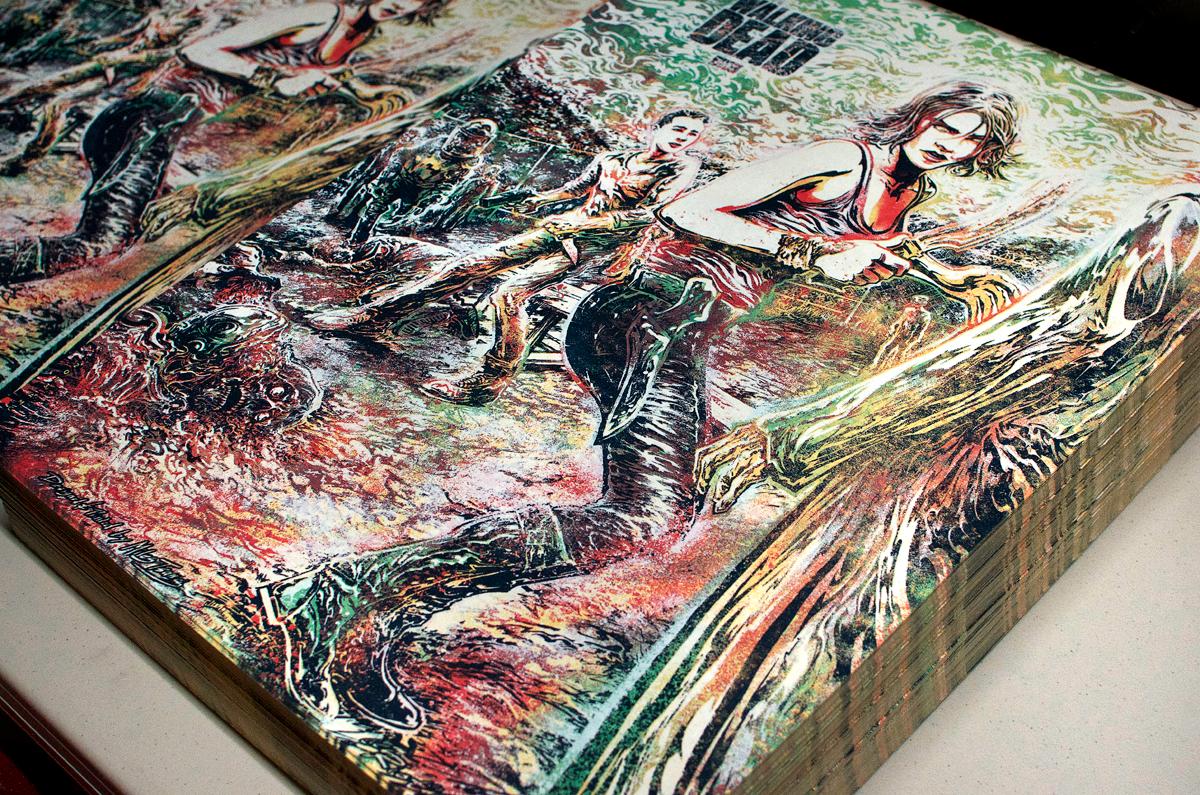 Final piles of The Walking Dead art prints. Yield: 300.