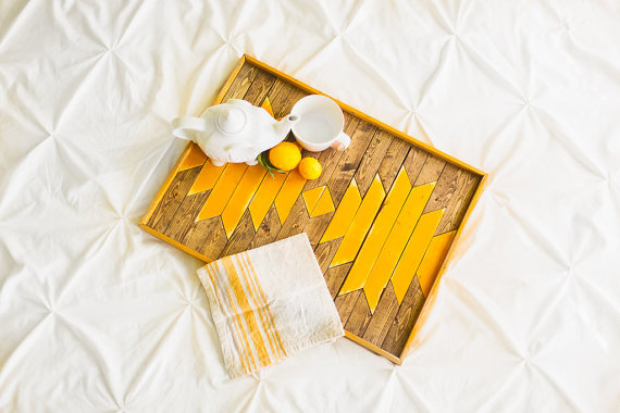 If You Give a Girl a Saw - Sunflower Yellow Breakfast Tray