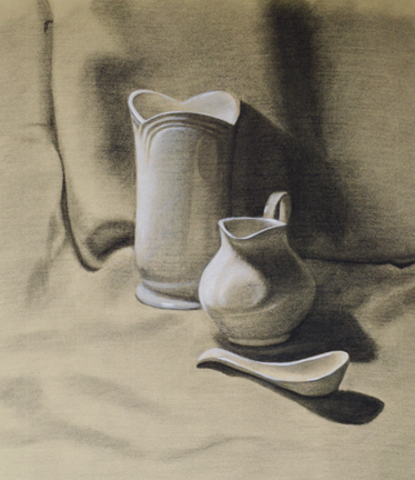 Still Life, Charcoal and White Chalk, Jadyne Reichner