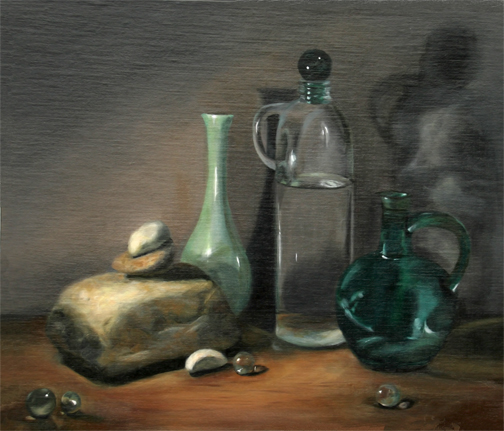 """Three Bottles and a Rock"", Still Life, Oil on Panel, Linda Styles-Adams"