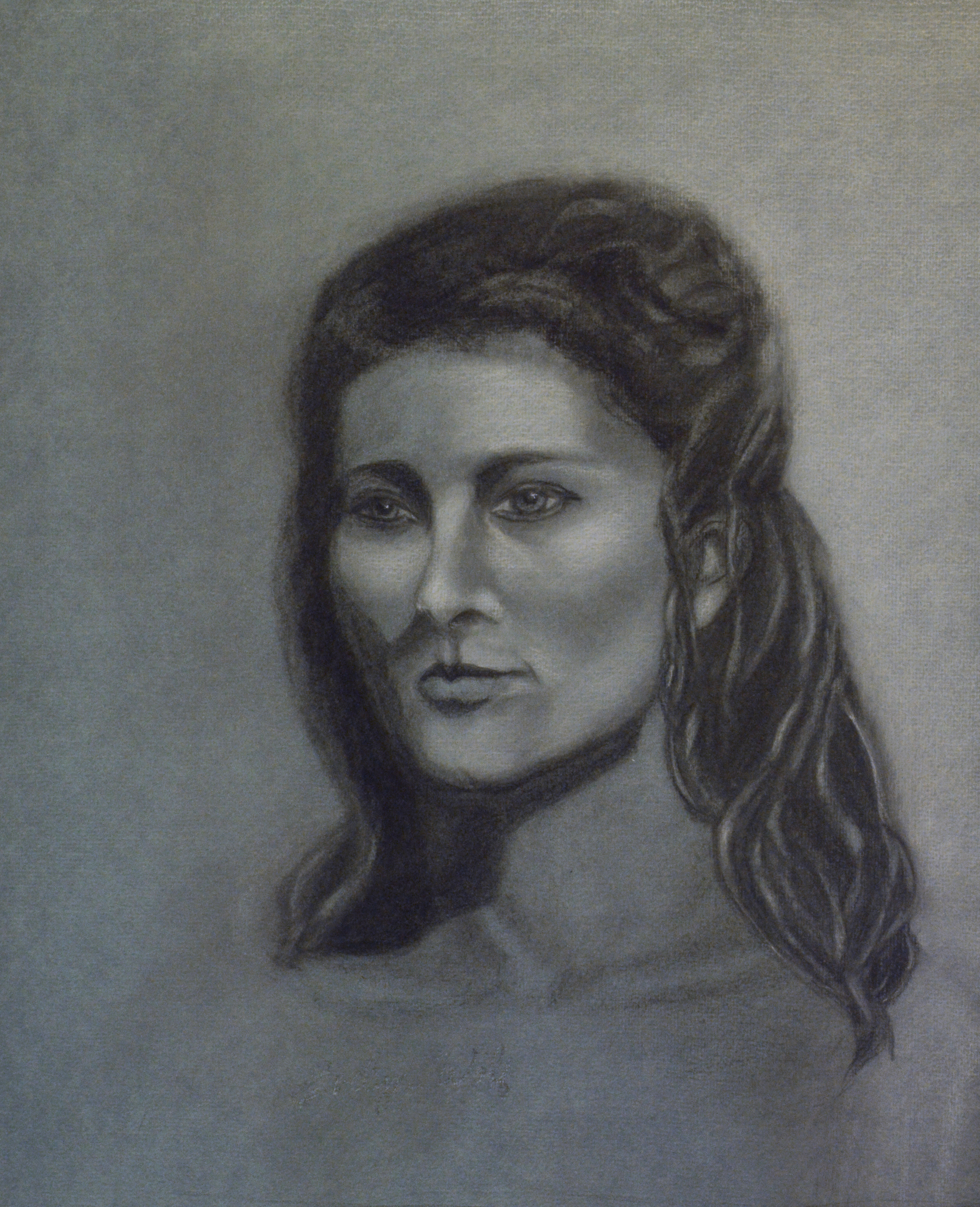 Portrait, Charcoal and White Chalk, Evelyn Wolf