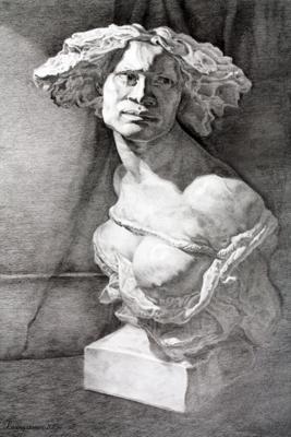 Cast Drawing in Progress, Graphite, Monika Livingstone
