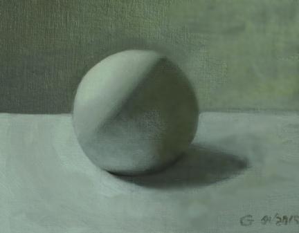 Monochromatic Sphere, Oil on Linen Panel, Gary Vihenen
