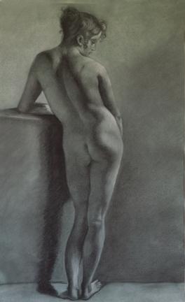Prud'hon Master Copy, Charcoal and White Chalk, Martha Rudersdorf
