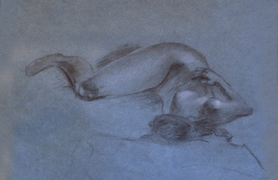 Life Drawing in Progress, Charcoal and White Chalk, Diane Nelson