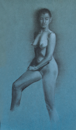 Life Drawing, Charcoal and White Chalk, Madeline Bryant