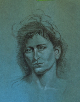 Portrait, Charcoal and White Chalk, Candace Cade