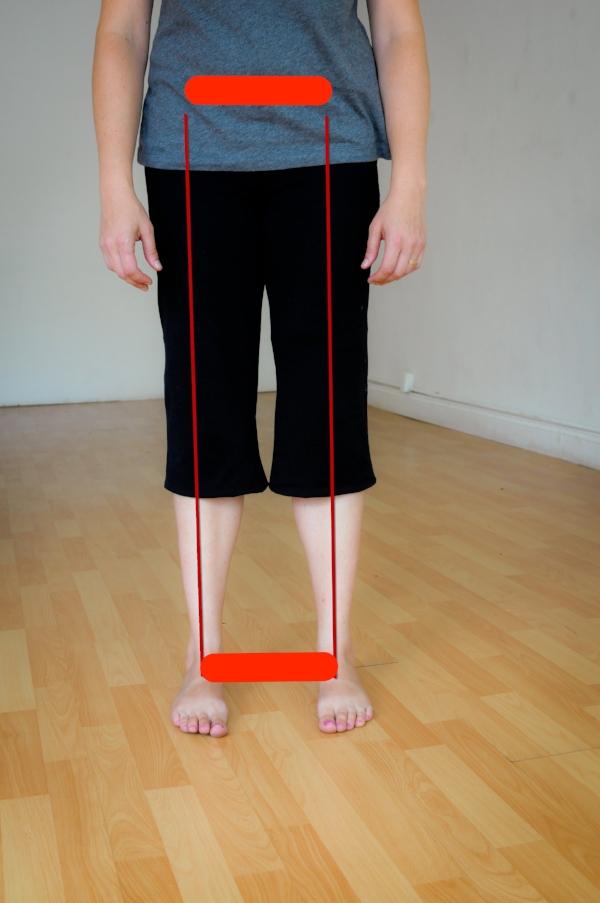 Lisa Gillispie demonstrates width of feet matching width of pelvis.