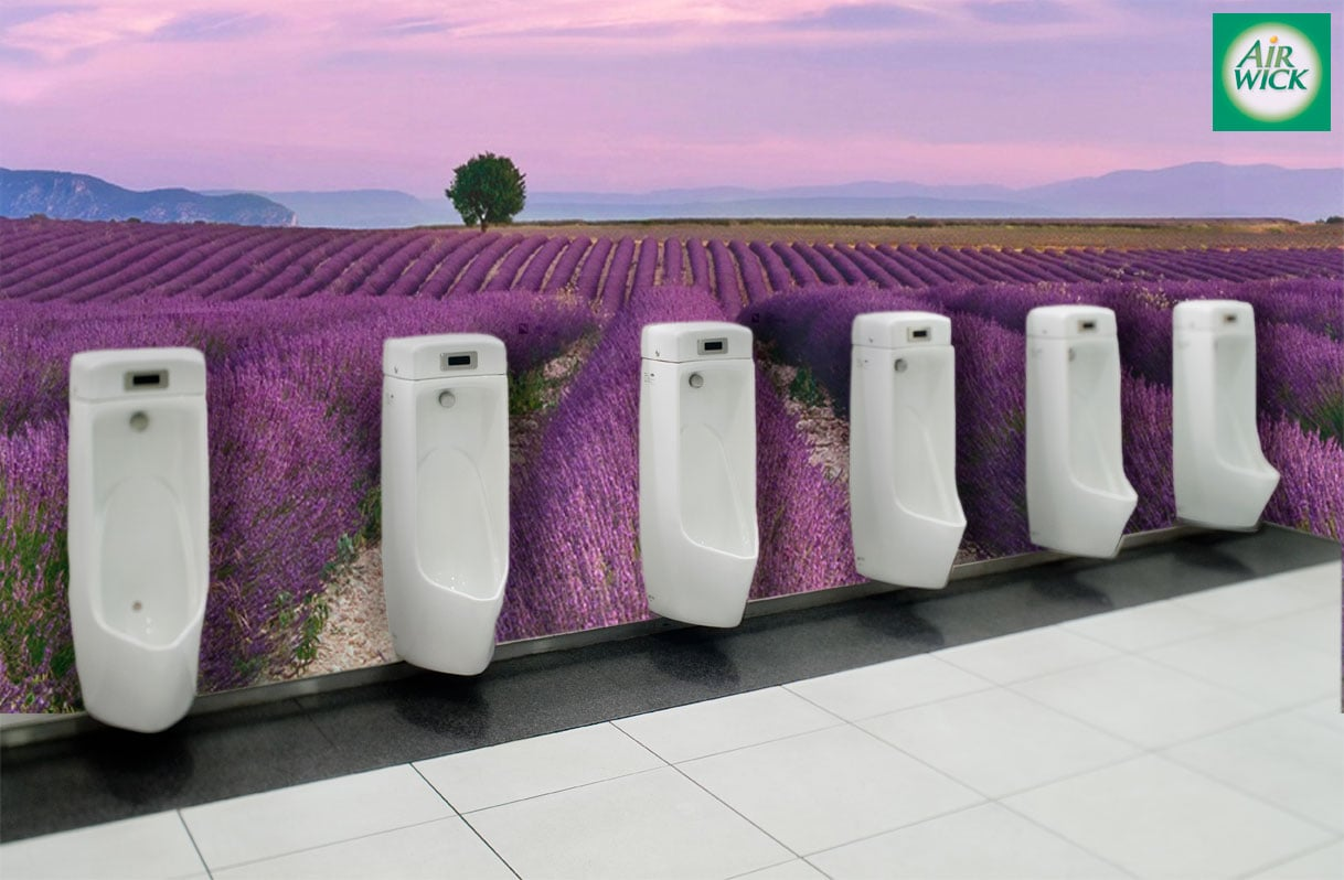 To demonstrate the new line of fragrances for Air Wick, public bathrooms were fitted with the fragrance, as well as visual cues, to give people a fully sensorial experience.