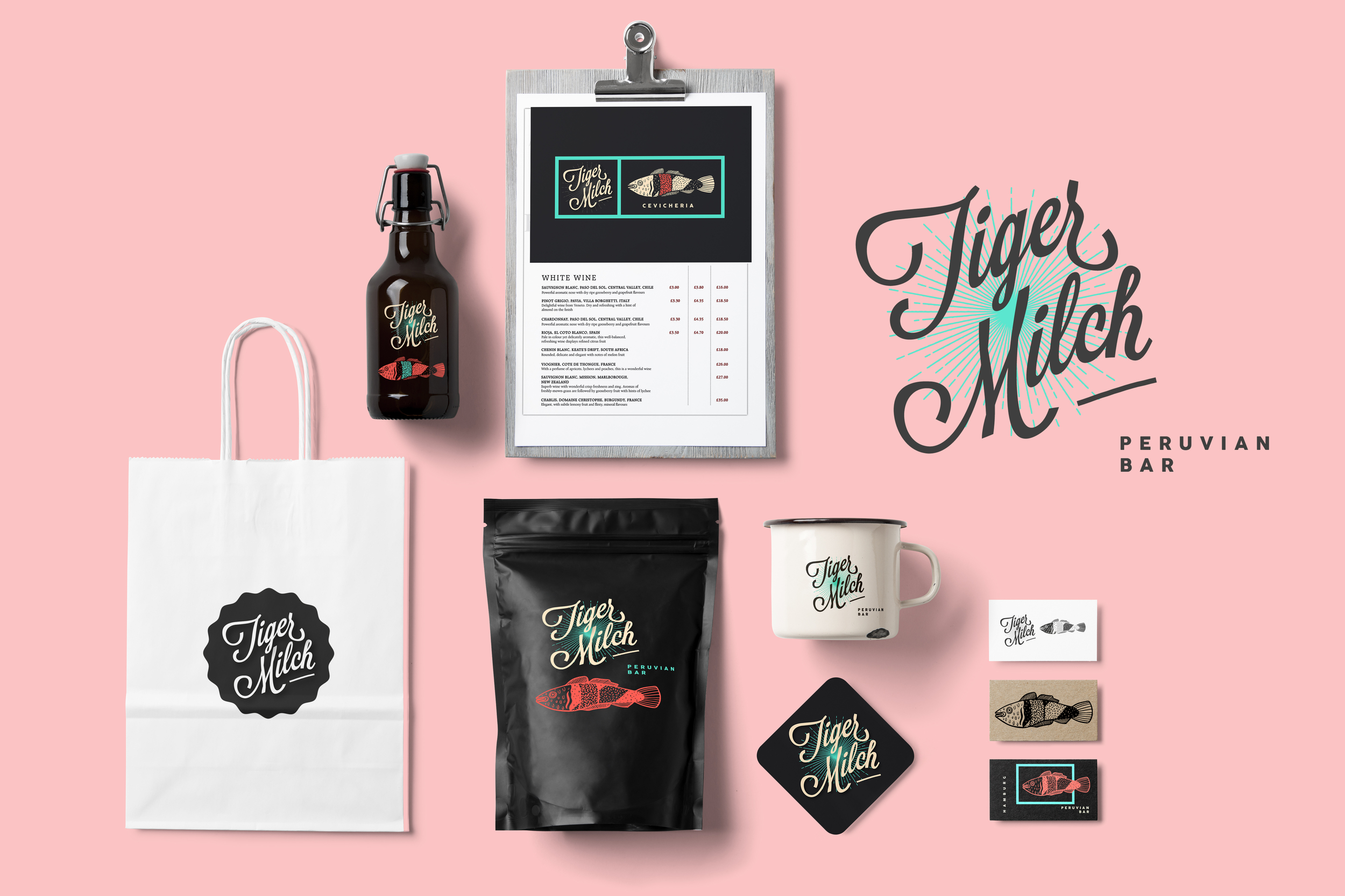 Tiger Milch brand identity logo bigotesucio