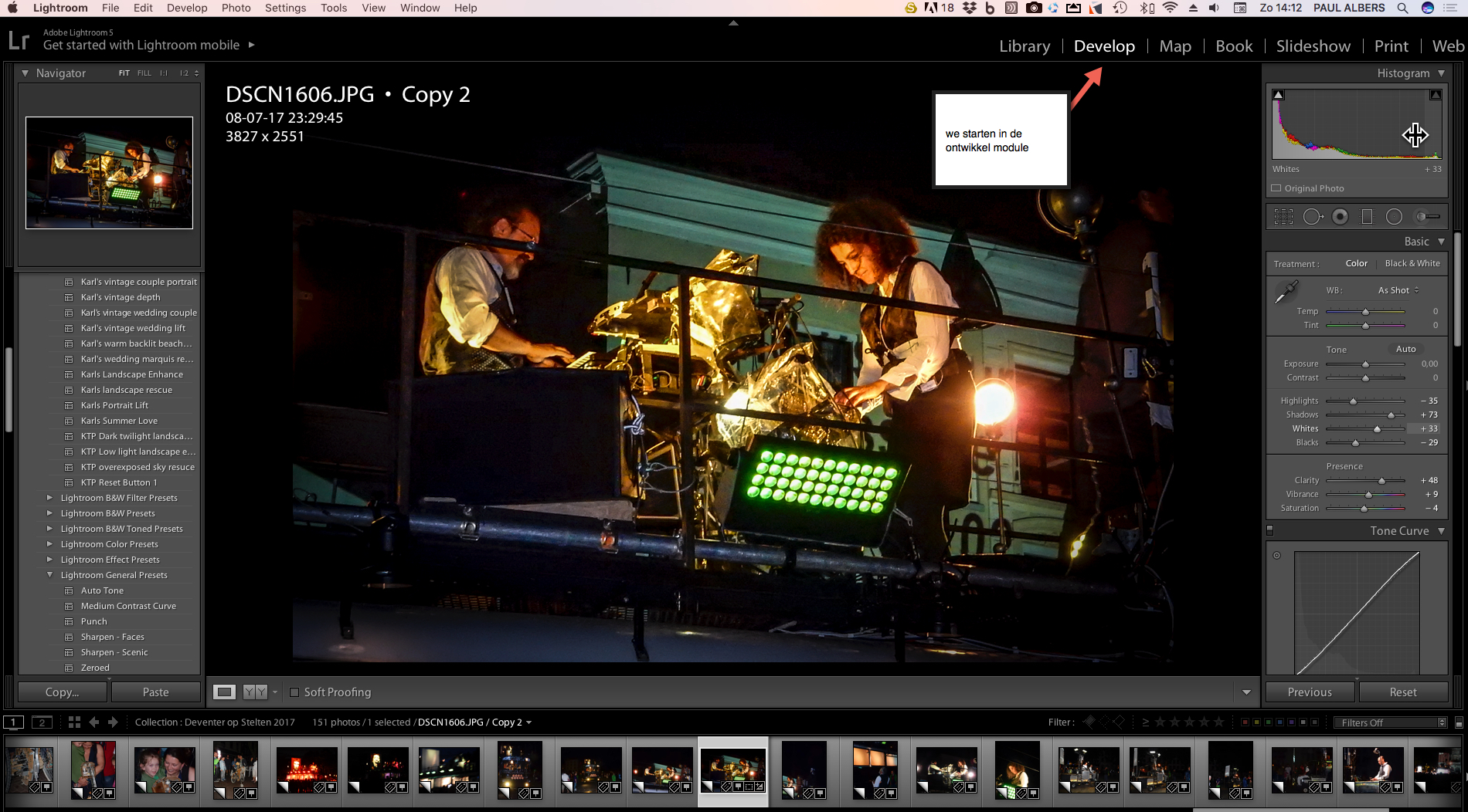 Open de develop module in lightroom