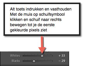 De foto verdwijnt en je scherm wordt zwart beweeg de schuif tot je de eerste pixel ziet oplichten. Je hebt de whites correct ingesteld