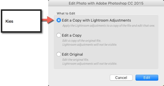 klik op edit en schakel over naar Photoshop