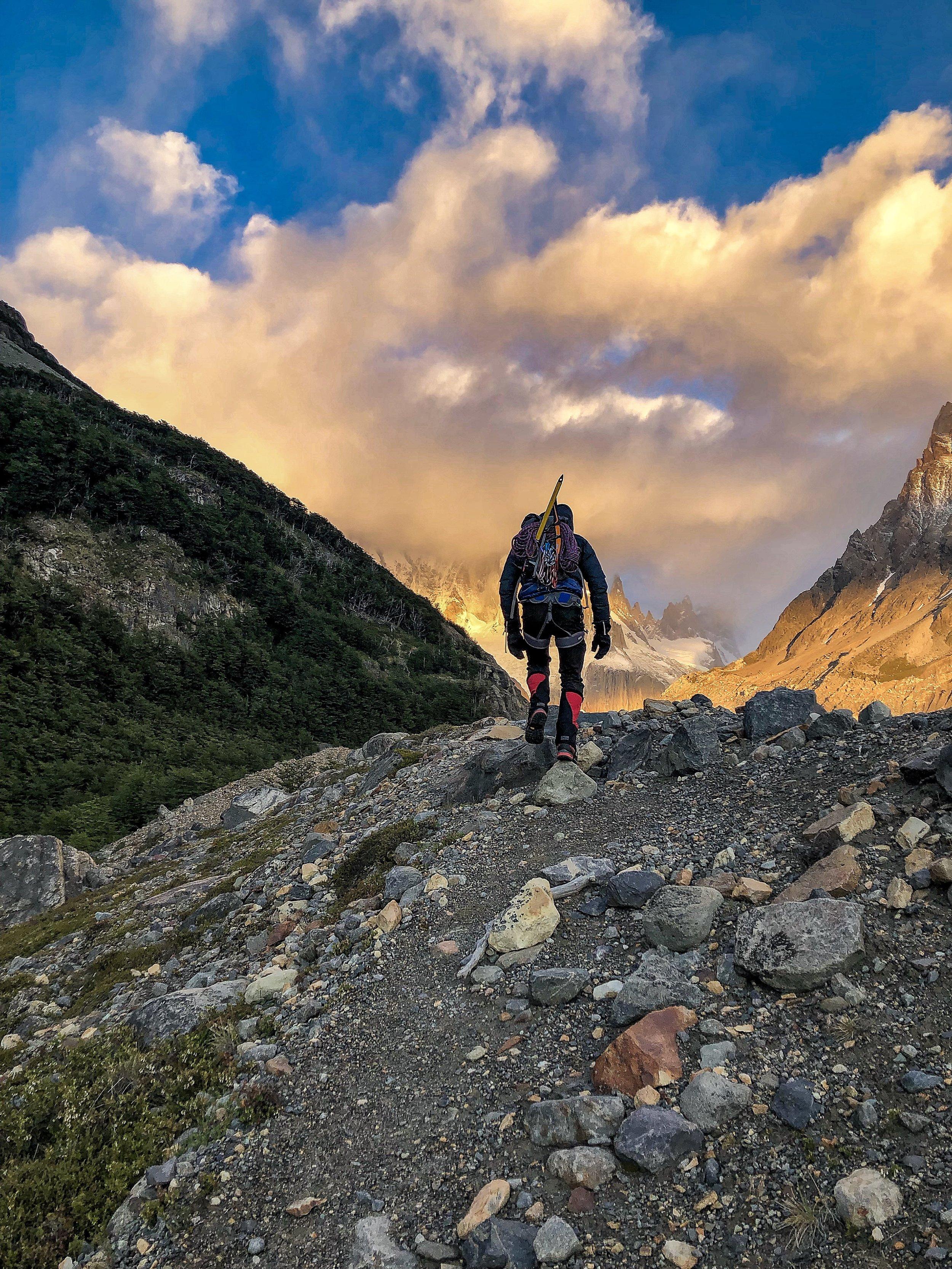 Craig making his way up Cerro Solo at dawn