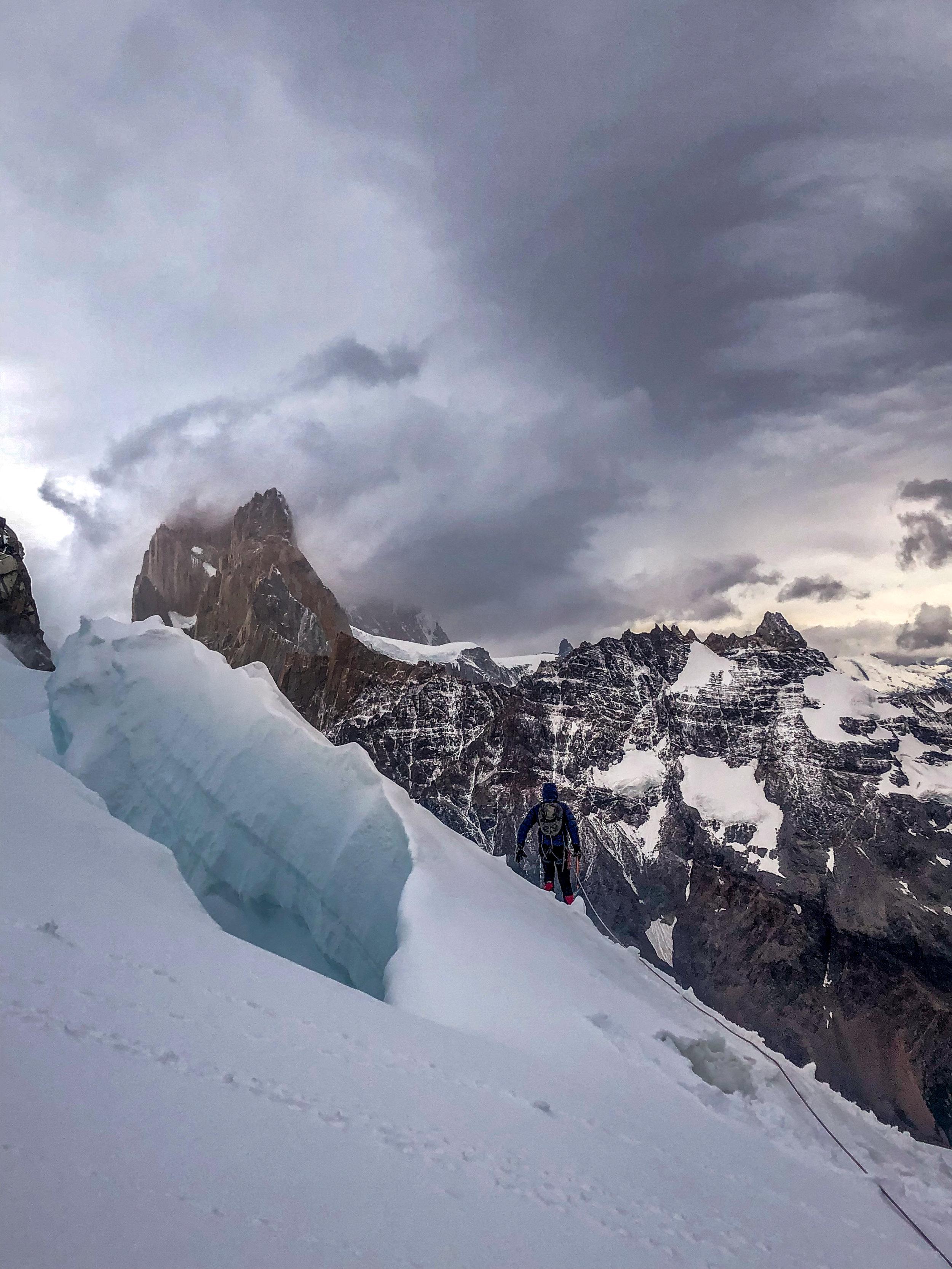 Crossing glaciers on Cerro Solo; note semi-sized crevasses with bf for scale 😳