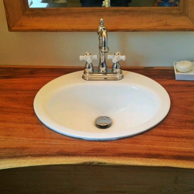 Live edge golden acacia vanity
