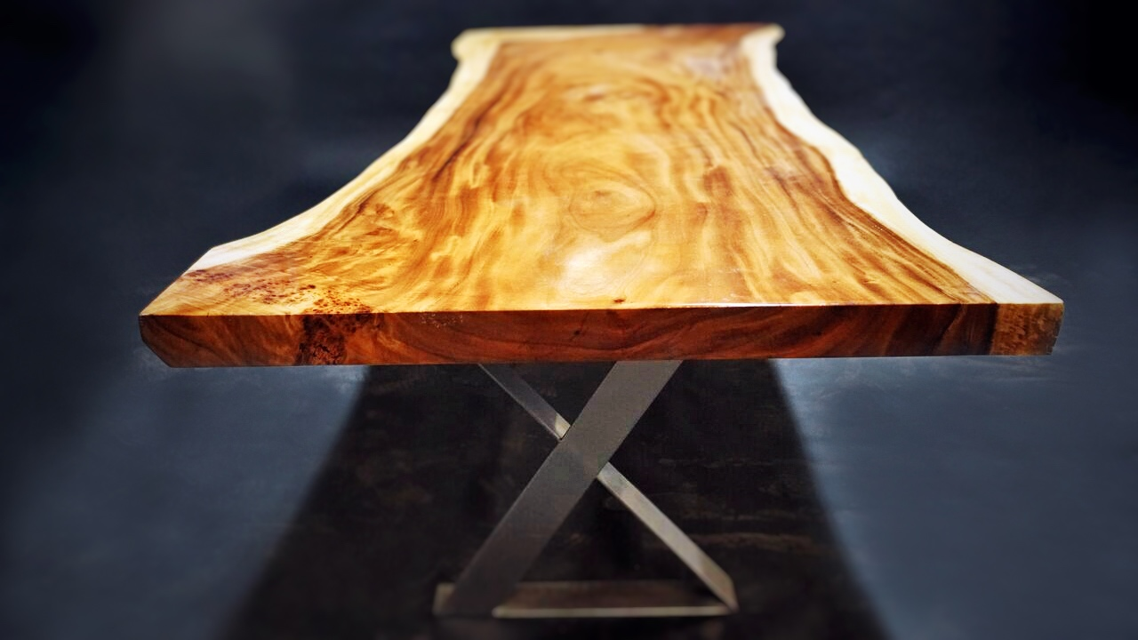 "Unique golden acacia live-edge slab table with acacia burl  133"" x 41"" x 54""  Available in glossy and matte finishes  More sizes available in a similar style - Call to inquire"
