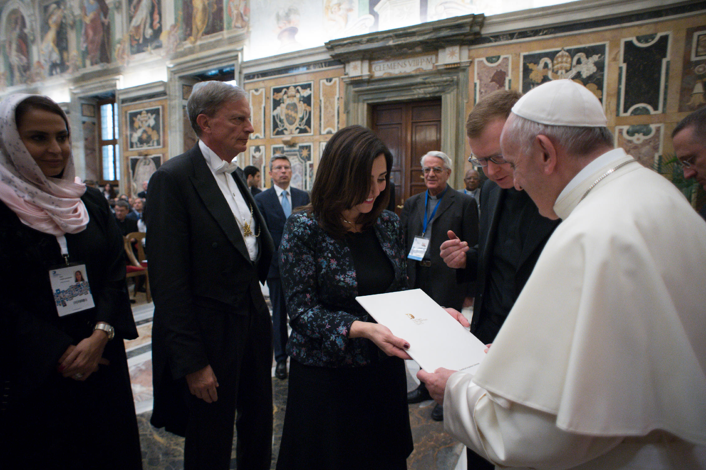 Baroness Joanna Shields and Pope Francis with Major Dana UAE.jpg