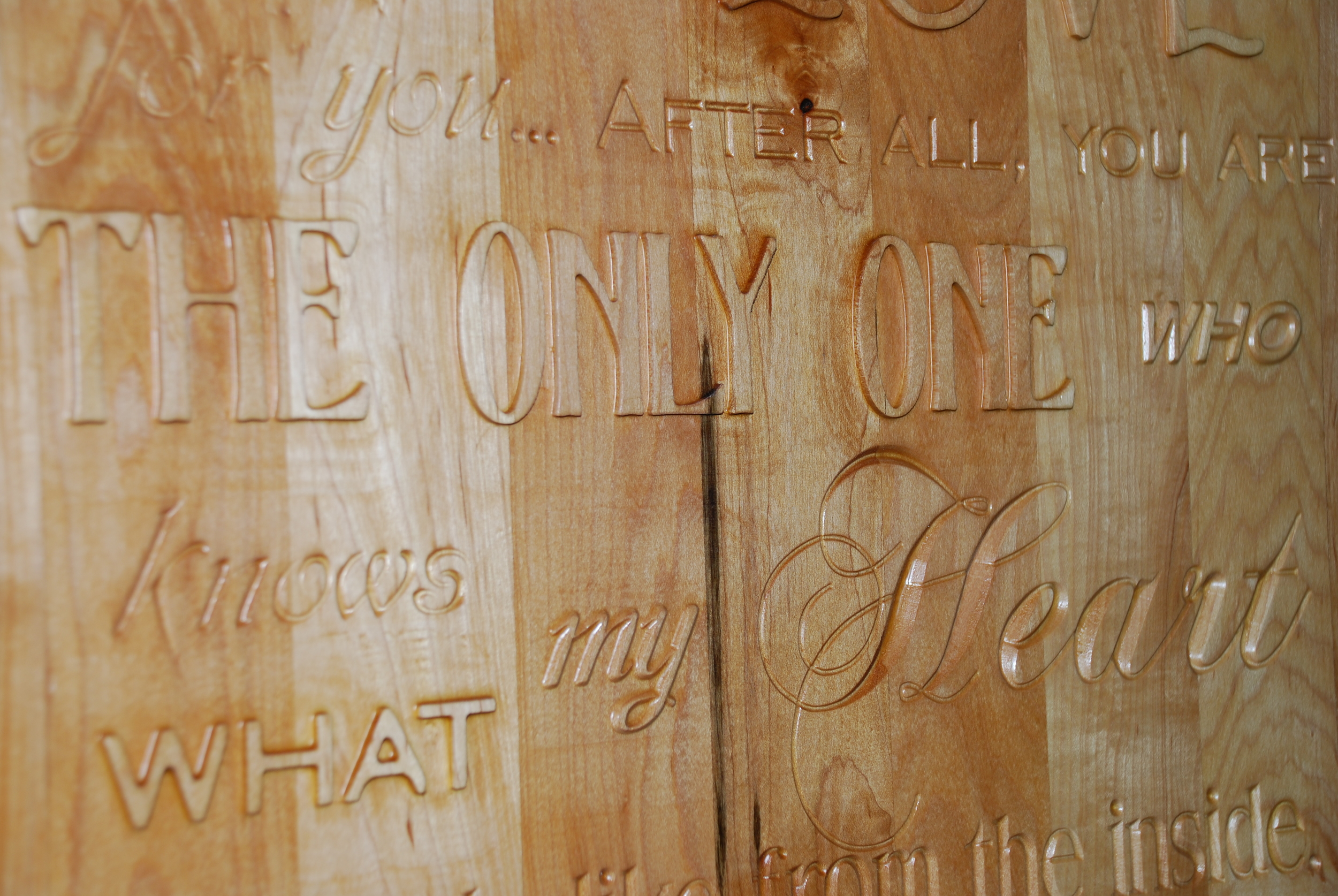 This is a close-up of the Pocketing and V-carving techniques that were used on the sign to the left of this picture.