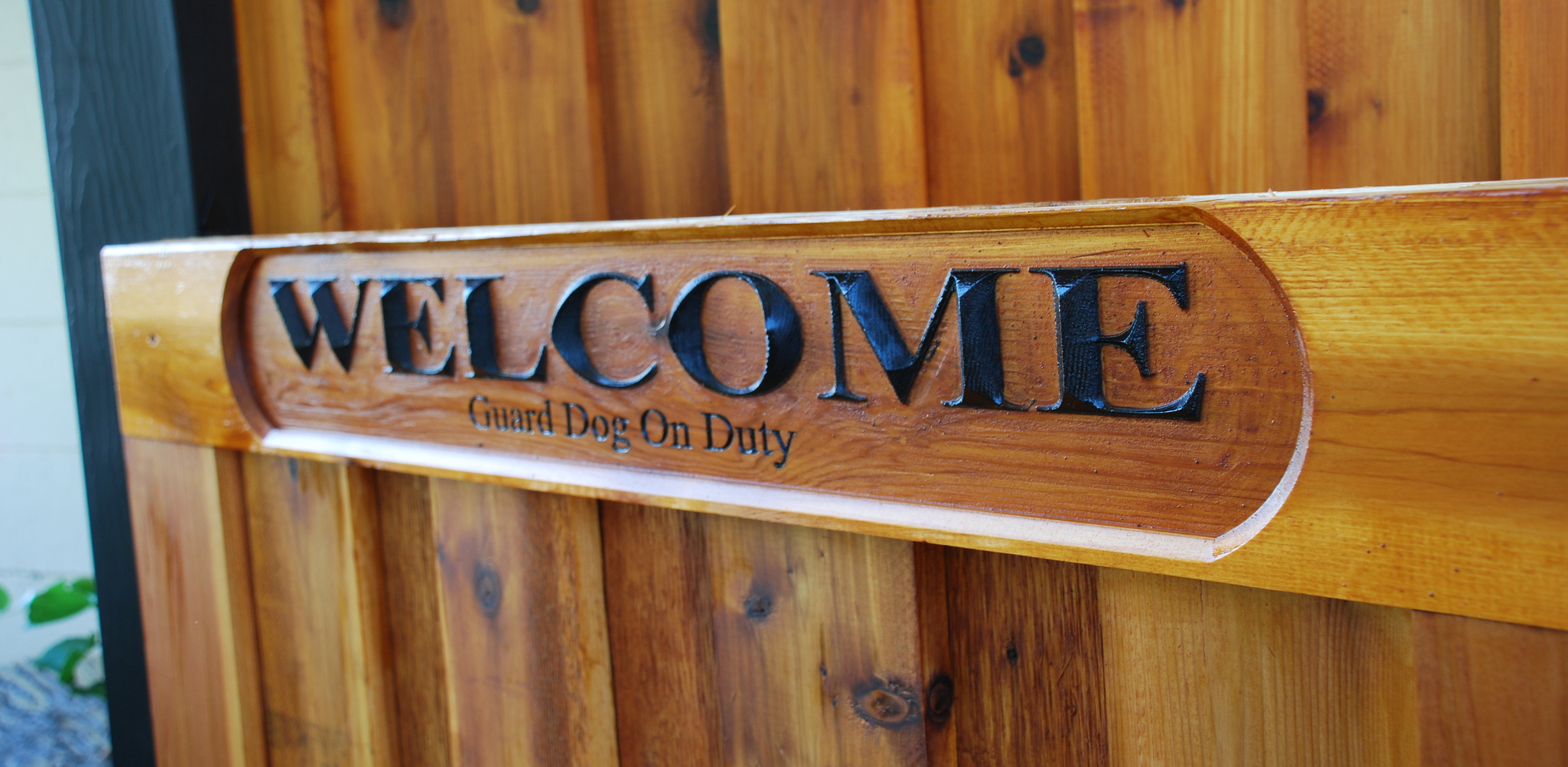 This sign uses the Pocketing technique in combination with a V shaped router bit to create 'prism' style lettering. This sign was cut into a Western Red Cedar board and the lettering was hand painted before it was mounted to the gate.