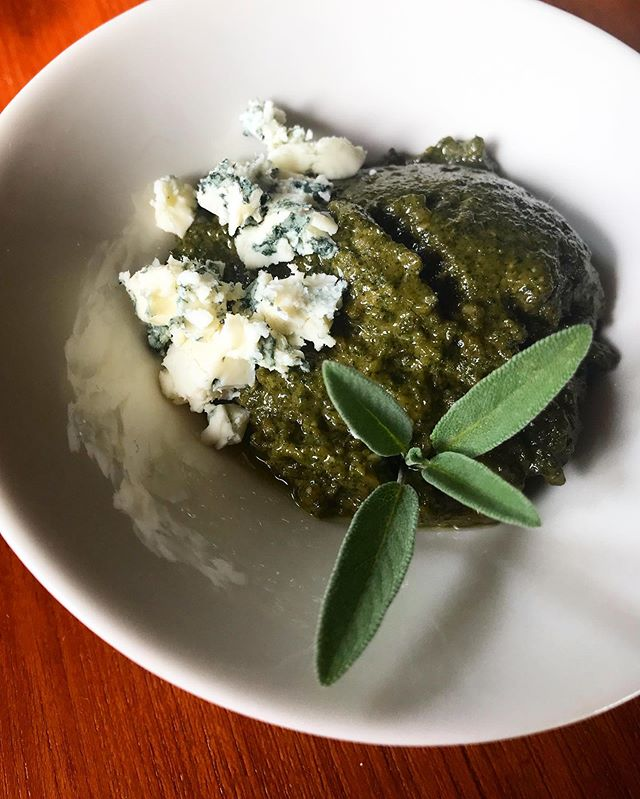 "Sage and blue cheese ""pesto"". Walnuts were the nut here. I've also used pecans, they're great in this recipe. Swap out the mayo for this pesto in potato salad, add a little fresh parsley, celery and red onion. It's a great use of the abundant perennial sage in your garden, if you are lucky enough to have one! . . . #culinaryherbs #improvchef #isomorphism #potatosalad #phytonutrients #caveagedbluecheese"