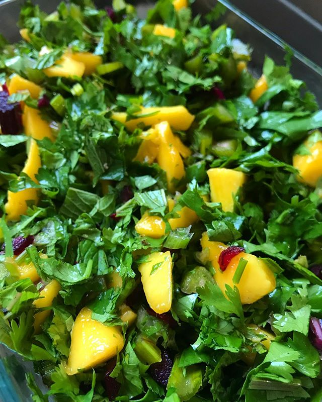 Accidentally AMAZING salad: take the stems from beets, chop them (like mini celery)- fresh mint and a little fresh cilantro, both minced- with diced ripe mango and a squeeze of fresh lime. I suppose avocado would be tasty too! . . . . #saladdujour #eatyourgreens #breakfastlunchanddinner #summerfresh #farmersmarket #tropicaltouch