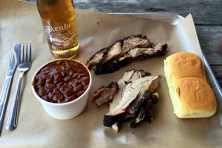 Plate for one with brisket, pork belly, and beans