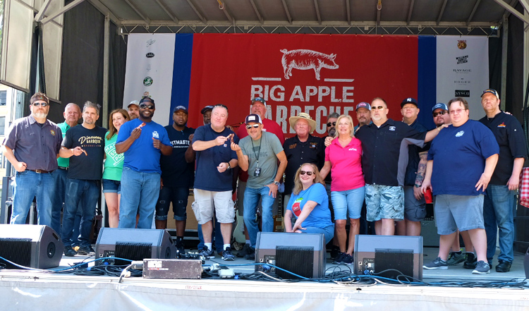 Pitmasters from top BBQ joints in New York and around the country pose for a photo before the 2018 Big Apple Barbecue.