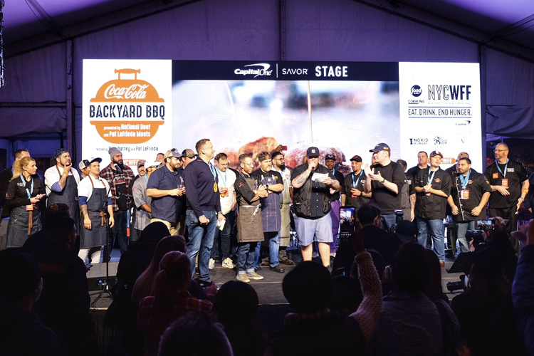 Most of the participating NYC BBQ talent assembled at the end of the night at Sunday's NYCWFF Backyard BBQ.