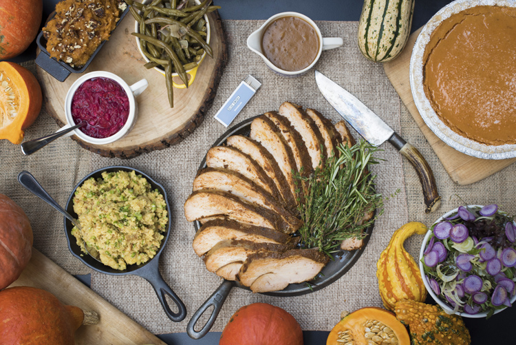 A Thanksgiving barbecue feast from the Blue Smoke team. (Photo by Liz Clayman)