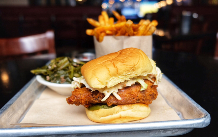 The spicy chicken sandwich at Blue Smoke is to die for.