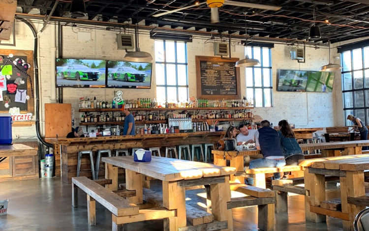 Pig Beach 's interior is large and great for watching sports (or anything else really).