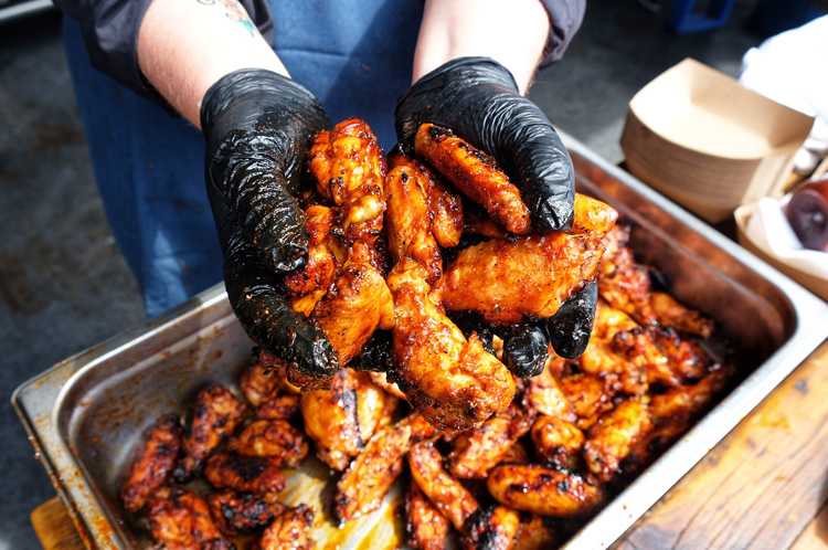 Lots of great food was on hand at the event, including the BBQ chicken wings from Leslie Roark Scott of Ubon's Barbeque.