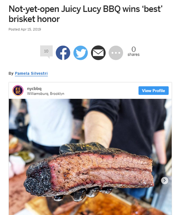 NYC BBQ's coverage of Brisket King NYC 2019 was prominently featured by the Staten Island Advance.
