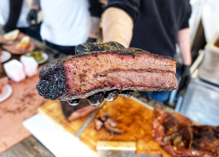 Juicy Lucy BBQ, which handily won Brisket King NYC earlier this year, has pushed back its opening date. Can't wait to try this brisket again. (Photo by Sean Ludwig)