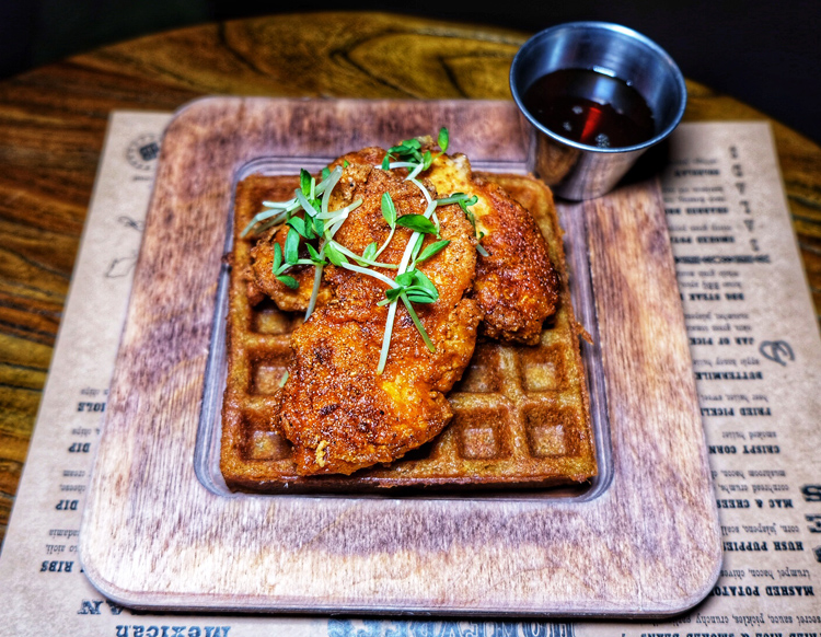 The chicken and waffles at Honeybee's tasted almost identical to the real thing and surprised all of us.