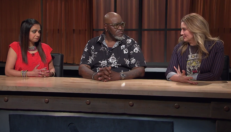 Judges on this episode of Chopped included Maneet Chauhan (left), Moe Cason, and Amanda Freitag.