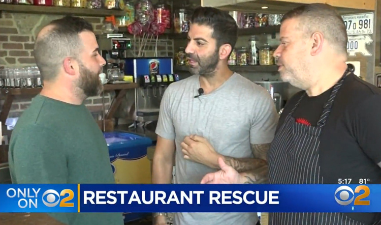 Juicy Lucy co-owner Andrew Plaitis (center) recently saved a customer's life at his joint in Staten Island.