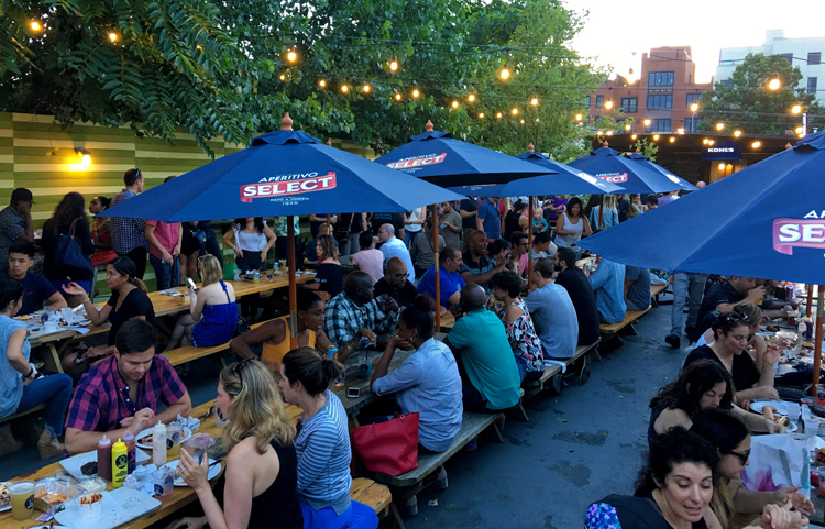 Pig Beach's outdoor space is the best one of its kind in New York City.