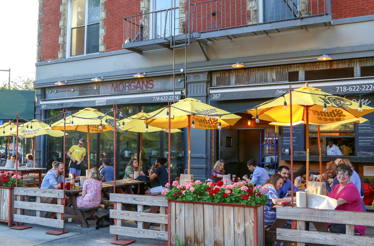 Morgan's Brooklyn Barbecue's outdoor seating is great for people watching.