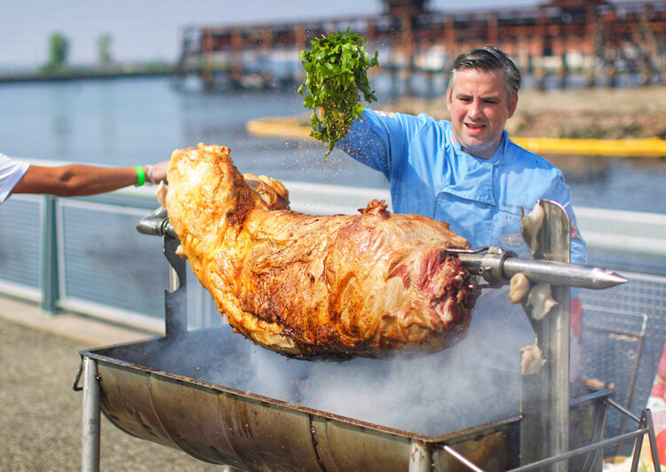 This Sunday, the Dining for Justice Pig Roast with Don Rodrigo Duarte will feature delicious Portuguese hog, sides, desserts, and more and raise money for a great cause. (Photo by    Miguel Rivas   )