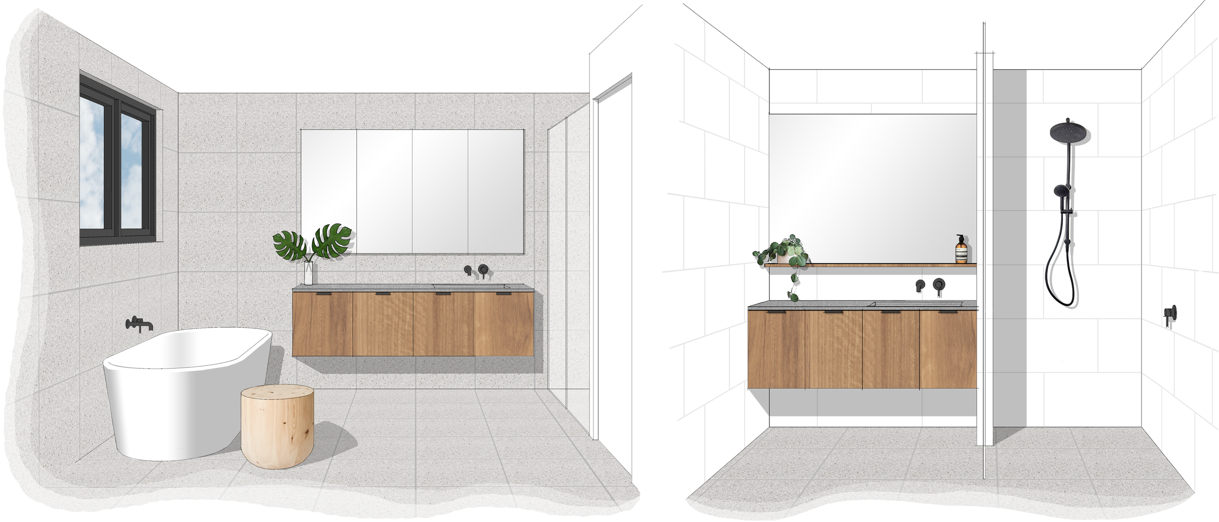 Concept Interior Design - Bathroom and Ensuite 3D Image, Harrison Residence. LO Design Studio Canberra Interior Designer