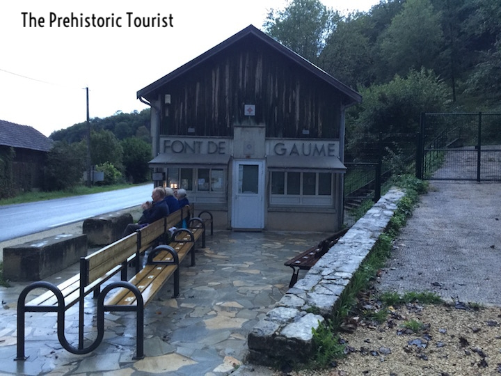 The ticket office for Font de Gaume. The benches have numbers painted on them to tell you your place in line.