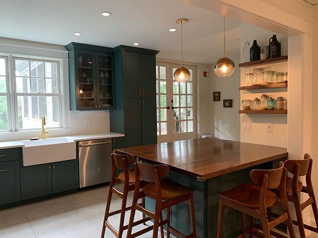 A bold kitchen renovation! 💚 [2 of 3] #kitchen #renovation #westchester #home #contemporary #interiordesign #reno #interiors #greenkitchen #butcherblock #wood #brass #gold #modern #design #homereno