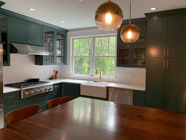 A bold kitchen renovation! 💚 [1 of 3] #kitchen #renovation #westchester #home #contemporary #interiordesign #reno #interiors #greenkitchen #butcherblock #wood #brass #gold #modern #design #homereno